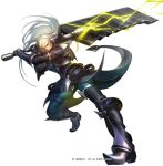 1boy armor attacking_viewer bangs blue_pants boots cleaver closed_mouth coat eyes_visible_through_hair foreshortening full_body gauntlets holding holding_weapon huge_weapon jacket liduke long_hair long_sleeves looking_at_viewer monster_hunter official_art pants pointy_boots scar scar_across_eye shoulder_pads silver_hair simple_background solo watermark weapon white_background