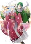 1boy 1girl bird black_legwear dagger fire_emblem fire_emblem:_akatsuki_no_megami floral_print green_hair hair_ribbon half_updo happy_new_year highres japanese_clothes kaboplus_ko kimono long_sleeves micaiah new_year petals ribbon sandals scarf silver_hair socks sothe weapon white_legwear white_scarf yellow_eyes yune