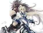 2boys back-to-back belt blonde_hair brown_hair capelet fingerless_gloves gloves guilty_gear guilty_gear_xrd hair_ribbon holding holding_sword holding_weapon ky_kiske long_hair maka_(morphine) multiple_belts multiple_boys ponytail ribbon signature sol_badguy spiky_hair sword weapon