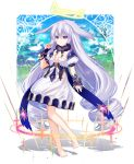1girl absurdly_long_hair barefoot blurry blurry_background breasts dress drill_hair full_body grey_hair hair_wings halo long_hair looking_at_viewer nyori original outdoors puffy_short_sleeves puffy_sleeves short_sleeves small_breasts solo standing very_long_hair violet_eyes white_dress
