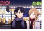 1boy 1girl absurdres artist_name asuna_(sao) black_eyes black_hair blue_eyes brown_eyes brown_hair character_name copyright_name eye_contact highres kirito long_hair looking_at_another night outdoors red_scarf road scarf smile street sword_art_online upper_body yokota_takumi