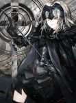 1girl ahoge armor armored_dress black_armor black_cape black_dress black_legwear blonde_hair cape chains cowboy_shot dress fate/grand_order fate_(series) fur_collar gauntlets headpiece highres holding holding_sword holding_weapon jeanne_d'arc_(alter)_(fate) jeanne_d'arc_(fate)_(all) kusakanmuri looking_away looking_to_the_side pale_skin sheath short_dress short_hair smile solo standing sword thigh-highs uneven_eyes weapon yellow_eyes zettai_ryouiki