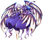 1girl angel_wings baba_(baba_seimaijo) barefoot blue_hair commentary_request dress earrings full_body highres jewelry long_hair long_sleeves multiple_wings sariel solo staff touhou touhou_(pc-98) transparent_background very_long_hair wings