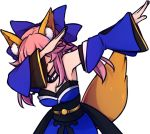 1girl animal_ears armpits bare_shoulders blue_dress blue_ribbon breasts cleavage dab_(dance) detached_sleeves dress fate/extra fate_(series) fox_ears fox_girl fox_tail hair_ribbon japanese_clothes kimono long_hair long_sleeves pink_hair ribbon solo speckticuls tail tamamo_(fate)_(all) tamamo_no_mae_(fate) transparent_background