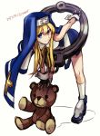1boy blonde_hair blue_eyes bridget_(guilty_gear) cuffs fingerless_gloves gloves guilty_gear handcuffs leaning_forward looking_up maka_(morphine) male_focus nun otoko_no_ko short_hair solo stuffed_animal stuffed_toy