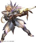 1girl bangs belt blonde_hair blue_eyes boots faulds full_body gauntlets glint gun holding holding_gun holding_weapon legs_apart liduke long_hair monster_hunter official_art parted_lips pauldrons rifle simple_background smile solo standing watermark weapon white_background