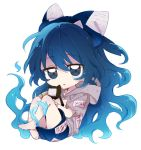 1girl bangs bare_legs barefoot blue_bow blue_eyes blue_hair blue_skirt bow chibi eyebrows_visible_through_hair full_body hair_bow holding holding_stuffed_animal hood hoodie long_hair looking_at_viewer short_sleeves simple_background six_(fnrptal1010) skirt solo stuffed_animal stuffed_cat stuffed_toy touhou very_long_hair white_background yorigami_shion