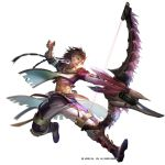 1boy :d abs blue_eyes boots bow_(weapon) brown_hair earrings facial_mark feathers full_body gauntlets holding holding_weapon jewelry jumping liduke long_hair male_focus monster_hunter navel official_art open_mouth pants purple_footwear shirt simple_background smile solo tabard watermark weapon white_background wind wind_lift