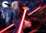 2girls artoria_pendragon_(all) city energy_sword english excalibur fate/grand_order fate_(series) glowing glowing_eyes lightsaber looking_at_viewer moon multiple_girls mysterious_heroine_x mysterious_heroine_x_(alter) night silver_hair space_craft spotlight sword weapon yellow_eyes
