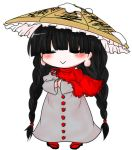 1girl :> =_= ajirogasa black_footwear blush braid brown_hat buttons buuwa capelet chibi closed_mouth clothes_writing dress frilled_capelet frilled_hat frills full_body geta grey_dress hands_together hat legs_apart long_hair long_sleeves no_nose pigeon-toed red_capelet red_legwear red_ribbon ribbon simple_background snow solo standing touhou twin_braids very_long_hair white_background wide_sleeves yatadera_narumi