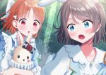 2girls :o alice_in_wonderland animal_ears apron ascot bangs blue_eyes bow clover_hair_ornament flower frilled_apron frills grey_hair hair_bow hair_ornament heart highres hina_(hinalovesugita) love_live! love_live!_sunshine!! multiple_girls neck_ruff orange_hair rabbit_ears red_eyes rose short_hair stuffed_animal stuffed_bunny stuffed_toy sweatdrop takami_chika upper_body watanabe_you white_bow white_neckwear
