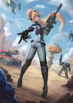 1girl armor ass blonde_hair bodysuit breasts full_body gun headset highres holding holding_weapon long_hair looking_at_viewer looking_back nova_(starcraft) nuclear_explosion parted_lips planet ponytail reaching_out robot_costume standing tongue tongue_out twisted_torso weapon wenfei_ye