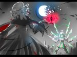 2girls broken_moon city commentary_request fighting giant iesupa kaijuu lowres magic mecha moon multiple_girls night night_sky penny_polendina rwby salem_(rwby) sky