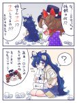 2girls 2koma ? bangle black_hat bloomers blue_eyes blue_hair blue_skirt bow bracelet brown_hair comic crying drawstring drill_hair eating eyewear_on_head hair_bow hat hat_bow hood hoodie itatatata jewelry long_hair mg_mg miniskirt multiple_girls open_mouth red_bow see-through seiza siblings sisters sitting skirt smile sunglasses tissue tissue_box top_hat touhou translation_request twin_drills underwear very_long_hair white_bow yorigami_jo'on yorigami_shion