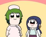 2girls :3 bangs bkub_(style) blue_hair blue_shirt blush character_request chibi closed_mouth commentary_request cyclops dot_nose eyebrows_visible_through_hair green_eyes green_hair hat hitomi_sensei_no_hokenshitsu labcoat long_sleeves manaka_hitomi multiple_girls nurse nurse_cap parody pink_eyes ponytail poptepipic purple_skirt shake-o shirt skirt standing
