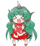 1girl :d blush buttons buuwa chibi cloud_print collared_shirt curly_hair eyebrows eyebrows_visible_through_hair geta green_hair horn kariyushi_shirt komano_aun legs_apart long_hair no_nose open_mouth pigeon-toed red_shirt shirt short_sleeves shorts simple_background smile solo standing tail touhou v-shaped_eyebrows white_background white_shorts