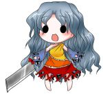 1girl :d bare_legs bare_shoulders blush buuwa detached_sleeves diamond_(shape) dress eyebrows eyebrows_visible_through_hair frilled_dress frills full_body grey_hair hatchet holding legs_apart long_hair long_sleeves multicolored multicolored_clothes multicolored_dress nose_hatchet open_mouth orange_dress oriental_hatchet red_dress sakata_nemuno simple_background single_bare_shoulder single_strap smile solid_circle_eyes solo standing touhou wavy_hair white_background wide_sleeves yellow_dress