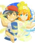 1boy 1girl :o back-to-back baseball_cap black_hair blue_eyes brown_eyes commentary_request electricity grin hat kasumi_(pokemon) orange_hair pokemon pokemon_(anime) pokemon_(game) pokemon_sm pokemon_sm_(anime) popela satoshi_(pokemon) shirt short_hair smile striped striped_shirt water