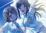 2girls :d arm_up blue_eyes blue_hair condensation_trail dolphin_print grey_hair grin highres hina_(hinalovesugita) long_hair love_live! love_live!_sunshine!! matsuura_kanan multiple_girls one_eye_closed open_mouth polo_shirt ponytail shirt short_hair short_sleeves sidelocks smile striped striped_shirt violet_eyes watanabe_you