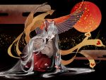 1girl bird fujiwara_no_mokou full_moon grey_hair hair_ribbon highres long_hair mokoiscat moon ofuda phoenix red_eyes ribbon solo squatting touhou very_long_hair white_hair