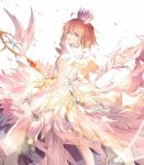 1girl antenna_hair brown_hair card_captor_sakura closed_eyes gloves highres hoshi_no_tsue kero kinomoto_sakura magical_girl short_hair sky smile wand white_gloves wings zhong_chai