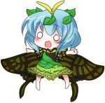 1girl :d antennae bangs bare_arms blue_hair blush butterfly_wings buuwa dress eternity_larva eyebrows eyebrows_visible_through_hair fairy full_body green_dress hair_between_eyes hair_ornament leaf leaf_hair_ornament legs_apart o_o open_mouth outstretched_arms short_hair short_sleeves simple_background smile solo touhou white_background wings