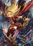 1girl :d bangs black_legwear blonde_hair book boots bow bracer breasts cagliostro_(granblue_fantasy) cape dragon fang_xue_jun granblue_fantasy hairband jumping long_hair looking_at_viewer open_mouth ouroboros_(granblue_fantasy) red_skirt skirt small_breasts smile solo spikes thigh-highs tiara violet_eyes