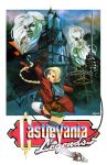 1girl 2boys alucard_(castlevania) bat blonde_hair castle castlevania castlevania_legends clouds cross daniel_oduber dracula fake_box_art flying gloves highres jacket logo long_hair multiple_boys ponytail realistic red_eyes shorts signature sonia_belmondo sword tagme video_game weapon whip white_hair white_legwear white_skin