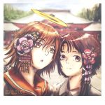 2girls angel_wings brown brown_eyes brown_hair commentary_request creator_connection dated flower gorilla(1844~) haibane_renmei hair_flower hair_ornament hairclip halo iwakura_lain kanzashi messy_hair multiple_girls new_year orange_(color) orange_sailor_collar rakka sailor_collar serial_experiments_lain temple wings