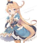 1girl armor bangs black_bow blonde_hair blue_dress blue_eyes blush bow breastplate character_name charlotta_(granblue_fantasy) closed_mouth dotted_line dress enomoto_hina faulds granblue_fantasy hair_between_eyes hair_bow harbin juliet_sleeves long_hair long_sleeves looking_at_viewer pointy_ears puffy_sleeves sidelocks skirt_basket solo swept_bangs very_long_hair white_background