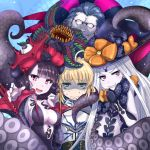 1boy 3girls :d abigail_williams_(fate/grand_order) armor artoria_pendragon_(all) bangs black_bow black_dress black_gloves black_hat blonde_hair blue_hair blush bow carnivorous_plant caster_(fate/zero) closed_eyes closed_mouth collarbone commentary_request dress elbow_gloves eyebrows_visible_through_hair fate/grand_order fate_(series) gilles_de_rais_(fate/grand_order) girl_sandwich gloves green_eyes grimjin grin hand_up hat hat_bow head_tilt highres katsushika_hokusai_(fate/grand_order) long_hair long_sleeves looking_at_viewer multiple_girls open_mouth orange_bow pale_skin parted_bangs print_bow puffy_long_sleeves puffy_sleeves purple_hair revealing_clothes saber sandwiched sharp_teeth smile star star_print strapless strapless_dress suction_cups sweat sweating_profusely teeth tentacle turn_pale v-shaped_eyebrows very_long_hair violet_eyes witch_hat