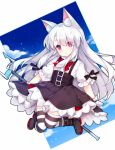 1girl animal_ears azur_lane bangs black_bow black_footwear black_skirt blue_sky boots bow bowtie cat_ears clouds erebus_(azur_lane) eyebrows_visible_through_hair eyes_visible_through_hair gloves hair_between_eyes high-waist_skirt holding long_hair puffy_short_sleeves puffy_sleeves red_eyes red_neckwear shirt short_sleeves silver_hair skirt sky solo striped striped_legwear suspender_skirt suspenders tengxiang_lingnai thigh-highs very_long_hair white_gloves white_shirt