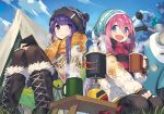 2girls aemochi blue_eyes blue_hair blush boots cellphone chair cup day eyebrows eyebrows_visible_through_hair gloves grass ground_vehicle hat kagamihara_nadeshiko long_hair looking_at_viewer motor_vehicle motorcycle mountain mug multiple_girls open_mouth outdoors pantyhose phone pink_hair purple_hair scarf seiza shima_rin sitting sky smartphone smile table tent violet_eyes yurucamp