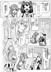 3girls :d ahoge bare_shoulders braid closed_eyes comic commentary_request crown detached_sleeves double_bun dress french_braid greyscale hair_between_eyes hairband haruna_(kantai_collection) headgear highres japanese_clothes kantai_collection kongou_(kantai_collection) long_hair long_sleeves mini_crown monochrome multiple_girls munmu-san musical_note nontraditional_miko off-shoulder_dress off_shoulder open_mouth pleated_skirt quaver ribbon-trimmed_sleeves ribbon_trim skirt smile speech_bubble thigh-highs translation_request warspite_(kantai_collection) wide_sleeves