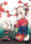 2girls :o animal_ears bangs black_kimono blue_bow blue_eyes blurry blurry_foreground blush bow closed_mouth depth_of_field dog_ears dog_girl dog_tail eyebrows_visible_through_hair floral_print flower food green_bow hair_flower hair_ornament hairclip highres japanese_clothes kimono looking_at_viewer looking_back multiple_girls niii_(memstapak) original parted_lips ponytail popsicle print_kimono red_flower red_kimono sidelocks silver_hair sitting smile tail upper_teeth water