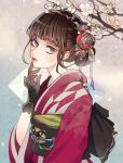 1girl absurdres bangs blue_eyes brown_hair butterfly_ornament closed_mouth commentary ears_visible_through_hair flower gloves hand_on_own_chin highres japanese_clothes kimono looking_at_viewer multicolored multicolored_background open_eyes original remon_(10112) shadow short_hair solo