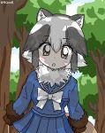 1girl blush bow bowtie forest fur_collar fur_trim highres kemono_friends multicolored_hair nature open_mouth raccoon_dog_(kemono_friends) school_uniform serafuku skirt tree user_kcjn5844