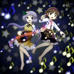 2girls :d bangs bare_legs barefoot biwa_lute black_ribbon black_skirt breasts brown_dress brown_eyes brown_hair collared_dress collared_shirt crescent_moon danmaku dress eyebrows eyebrows_visible_through_hair flower frilled_skirt frills green_ribbon hair_flower hair_ornament hair_ribbon hairband highres holding holding_instrument instrument long_hair long_sleeves looking_at_viewer looking_away looking_to_the_side low_twintails lute_(instrument) moon multiple_girls musical_note official_style oota_jun'ya_(style) open_mouth parody parted_bangs pink_hairband purple_hair quaver ribbon see-through shirt short_hair skirt small_breasts smile star style_parody tareme tongue touhou tsukumo_benben tsukumo_yatsuhashi twintails undershirt v-shaped_eyebrows violet_eyes white_shirt ys_(fall)