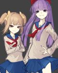 2girls :3 absurdres blue_eyes brown_eyes brown_hair crossed_arms hair_ribbon hand_on_hip height_difference highres long_hair multiple_girls neck_ribbon pipimi poptepipic popuko purple_hair ribbon riuichi sailor_collar school_uniform skirt smile smirk twintails violet_eyes