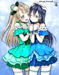 2girls bare_shoulders blue_dress blue_hair bow cheek-to-cheek closed_mouth commentary_request dress earrings gloves green_dress grey_hair hair_between_eyes hair_ornament hair_ribbon hands_together highres jewelry kira-kira_sensation! kisaragi_mizu long_hair love_live! love_live!_school_idol_project minami_kotori multiple_girls one_eye_closed one_side_up open_mouth ribbon simple_background smile sonoda_umi tearing_up white_gloves white_legwear yellow_eyes yuri