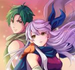 1boy 1girl animal animal_on_shoulder bangle bare_shoulders bird bird_on_shoulder blue_scarf bracelet dress elbow_gloves fire_emblem fire_emblem:_akatsuki_no_megami gloves green_hair hair_ribbon half_updo jewelry kokouno_oyazi micaiah ribbon scarf silver_hair sleeveless sleeveless_dress smile sothe upper_body white_scarf yellow_eyes yune