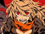 1girl angry blonde_hair breasts cleavage hosomitimiti long_hair looking_at_viewer open_mouth red_background red_eyes rwby scarf solo teeth yang_xiao_long