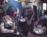 1girl 2017 2boys artificial_eyes asian assault_rifle batou black_hair bob_cut breasts cable cleavage cyberpunk cyborg dated dirty door ducking ghost_in_the_shell gun hallway helmet highres kneeling kusanagi_motoko large_breasts lips manly mecha multiple_boys police prosthesis prosthetic_arm realistic redesign rifle robot science_fiction shield short_hair shotgun signature submachine_gun tactical_clothes weapon white_eyes yintion