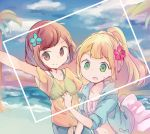 2girls bikini_top blonde_hair blue_flower blue_sky braid brown_eyes brown_hair clouds flower french_braid green_eyes hair_flower hair_ornament hand_on_another's_back high_ponytail huwatannpopo leaf lillie_(pokemon) looking_at_viewer mizuki_(pokemon_sm) multiple_girls navel ocean open_mouth pink_flower pokemon pokemon_(game) pokemon_sm ponytail see-through self_shot shirt short_sleeves sky smile striped_bikini_top sweat tied_shirt tree water yellow_shirt
