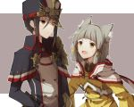 2girls animal_ears bangs blunt_bangs bodysuit cat_ears eyebrows gloves hat hood meleph_(xenoblade) military military_hat military_uniform multiple_girls niyah pauldrons reverse_trap ribbon short_hair silver_hair simple_background smile t0gebakudan uniform white_gloves xenoblade xenoblade_2 yellow_bodysuit yellow_eyes