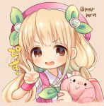 1girl :> :d bangs beret blonde_hair blush brown_background brown_eyes collared_shirt eyebrows_visible_through_hair futaba_anzu green_ribbon hair_ribbon hat idolmaster idolmaster_cinderella_girls long_hair looking_at_viewer low_twintails marshmallow_mille object_hug open_mouth pink_hat pink_vest ribbon shirt short_sleeves simple_background smile solo striped_vest stuffed_animal stuffed_bunny stuffed_toy sweat twintails twitter_username v v-shaped_eyebrows very_long_hair white_shirt wristband