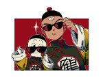 2boys black_eyes blush_stickers chaozu chinese_clothes dragon_ball expressionless frown hat long_sleeves looking_at_viewer male_focus multiple_boys pale_skin red_background simple_background sparkle sunglasses tenshinhan third_eye white_background