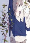 1girl arm_up asai_umi bangs beige_pants commentary_request earrings expressionless grey_eyes grey_hair hair_ornament hairpin half_updo hand_up hands_in_sleeves highres jewelry long_hair long_sleeves original plant short_over_long_sleeves solo upper_body