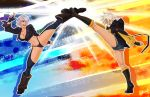 2girls absurdres ahoge angel_(kof) ass battle blazblue boots breasts bullet_(blazblue) chaps cleavage cowboy_boots cropped_jacket crosscounter crossover cutoffs dark_skin denim denim_shorts fighting_stance fingerless_gloves full_body gloves gluteal_fold hair_over_one_eye high_kick highres jacket kicking knee_boots kneepits large_breasts multiple_girls panties short_hair shorts side-tie_panties silver_hair smile split tan the_king_of_fighters thick_thighs thighs trait_connection underwear wallace_pires
