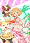 1girl :d ;d blue_eyes braixen closed_eyes flower hair_flower hair_ornament hands_up head_wreath konna-nani lei light_brown_hair midriff mouth_hold navel one_eye_closed open_mouth pancham pokemon pokemon_(anime) pokemon_(creature) pokemon_(game) pokemon_xy pokemon_xy_(anime) red-framed_eyewear serena_(pokemon) short_hair smile standing sunglasses sylveon